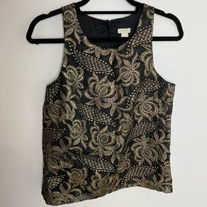 J. Crew | Embroidered Gold & Black Sleeveless Top